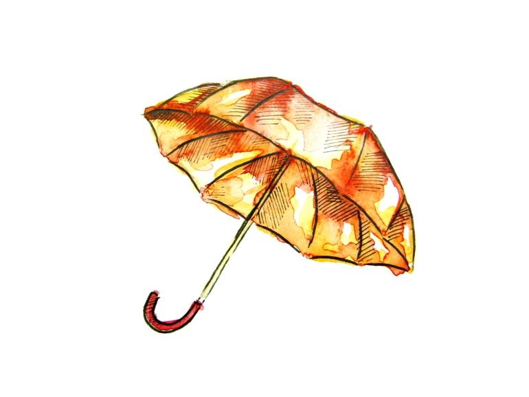 Как нарисовать акварелью зонт