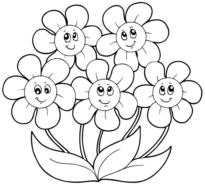 Рисуем пластилином. Раскраска Пять цветочков